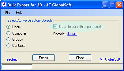 Click to view Bulk Export for Active Directory 2.3.4.5 screenshot